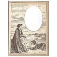 "Page from Victorian Photo Album, Sepia MonoChrome Illustration, ""Far Away"""