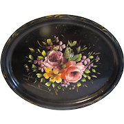 Vintage Oval Tole Tray, Pink and Lavender Roses