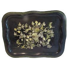 Large Rectangular Stenciled Tole Tray, Antique, Stylized Fruit Design