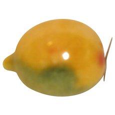 Vintage Piece of Carved Polished Mexican Alabaster Fruit, Lemon