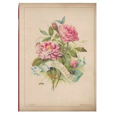 Title Page of Victorian Photograph Album, Pink Roses