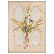 Lovely Page from Victorian Photograph Album, Bouquet of Fall Flowers