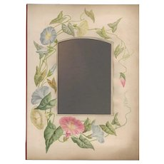 Lovely Page from Victorian Photograph Album, Pink & Blue Morning Glories