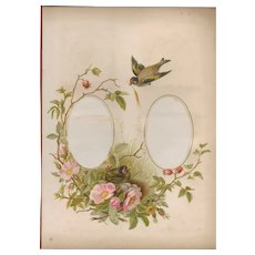 Lovely Page from Victorian Photograph Album, Pink Wild Roses and Birds