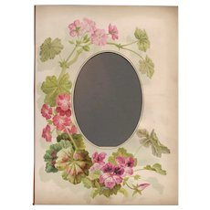 Lovely Page from Victorian Photo Album, Pink Geraniums
