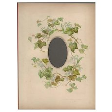 Lovely Page from a Victorian Photograph Album, Simple Green Ivy with Tiny Blue Flowers