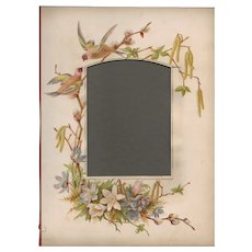 Lovely Page from Victorian Photograph Album, Pussy Willow & Birds