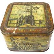 Antique Circa 1900 British Biscuit Tin NAVY Huntley & Palmers