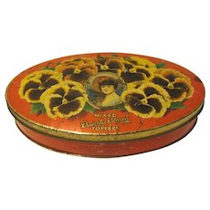 Vintage Dainty Dinah Mixed Toffee Tin, Geo. W. Horner, Pansies