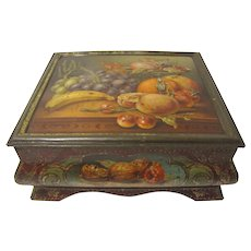 Very Early British Tin Casket, Fruit Still Life, Gorgeous