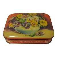 Vintage Blue Bird Toffee Tin, PANSIES