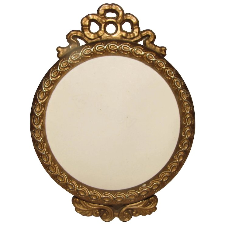 Vintage Small Round Table Top Frame, French Bow