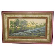 Vintage Oil Painting, Texas Bluebonnets, Gladys Eubanks