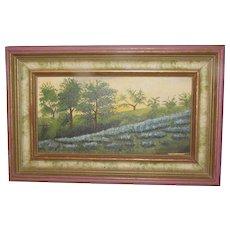 Vintage Oil Painting, Texas Bluebonnets, Gladys Eubanks