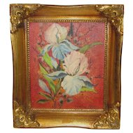 Vintage Painting on Canvas Board, Iris by Lenora Gray, Framed