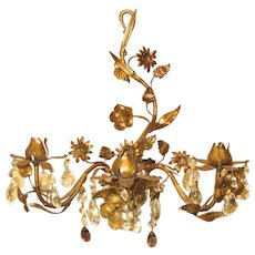 Decorative Italian Tole Candle Wall Sconce with Prisms
