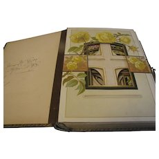 Lovely 1899 Leather-Bound Photograph Album, 8 Floral Pages