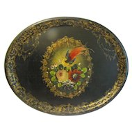Lovely Antique Tole Tray, Oval, Flowers and Bird