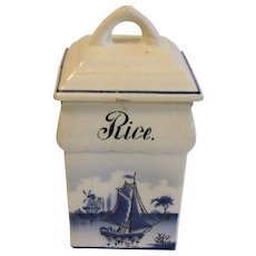 Vintage Blue Delft RICE Canister Made in Germany Renate
