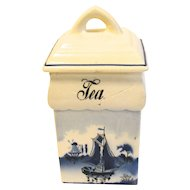 Vintage Blue Delft TEA Canister Made in Germany Renate