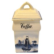 Vintage Blue Delft COFFEE Canister Made in Germany Renate