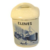 Delft CLOVES Spice Jar (Canister)  w/Lid Czechoslovakia Yvonne