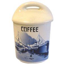 Delft COFFEE Canister w/Lid Czechoslovakia Yvonne