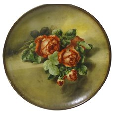 1932 Lithographed Round Metal Tray or Plaque, Lovely Roses