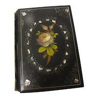 Lovely Papier Mâché Book Cover with Roses and Mother-of-Pearl