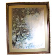 Lovely Large Vintage Print of Watercolor of Bird with Nest of Eggs