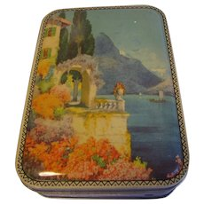 Vintage Blue Bird Toffee Tin, Castle by the Sea