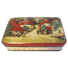 Vintage Blue Bird Toffee Tin, Country Village Scene