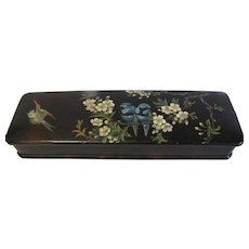 Victorian Papier Mache Glove Box, Blue Birds