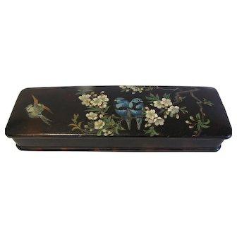 Victorian Papier Mache Glove Box, Blue Birds