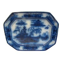 Antique Flow Blue Platter, Oriental Design, E. Challinor, c, 1840