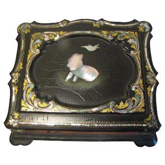 Antique Papier Maché Lap Desk, Small, Gilding, Mother-Of-Pearl