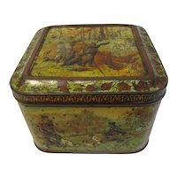"1899 British Biscuit Tin Huntley and Palmers ""WITH DOG & GUN"""