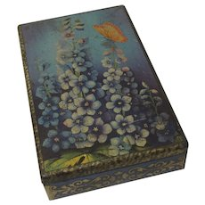 Vintage C.W.S. Biscuit Tin Hollyhocks and Butterfly