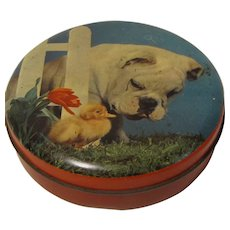 Small Round Blue Bird Toffee Tin, Bulldog, Duck, & Tulip