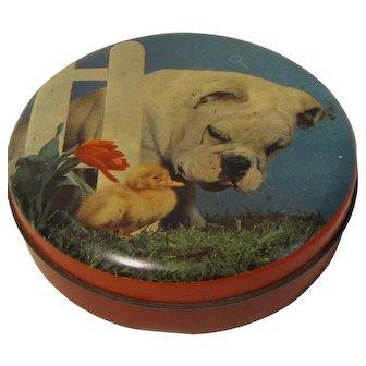 Small Round Blue Bird Toffee Tin, Bulldog, Duck, & Tulip