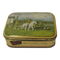 Vintage Small Sharp's Toffee Tin, Fox Hunting Scene