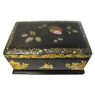 Antique British Tea Caddy, Papier Mache with Mother-Of-Pearl