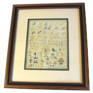 Circa 1845 Alphabet Sampler, Multiple Images, Archival Framed