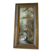 Lovely Antique Print, Landscape with Swans, Framed, No Signature