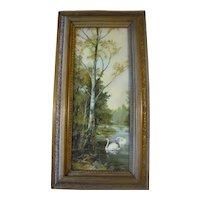 Lovely Framed Antique Framed Print, Landscape with Swans
