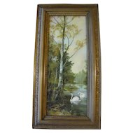 Lovely Framed Antique Framed Print, Landscape with Swans