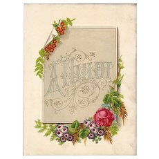 Floral Title Page from Victorian Photograph Album, Dedication Page