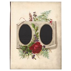 Red Rose Decorated this Lovely Page from Victorian Photo Album, CDV, (2 avail)