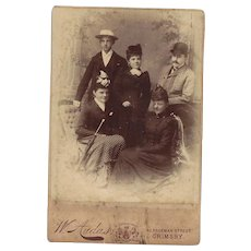 Cabinet Photograph of Family of 5 Adults, Victorian Dress