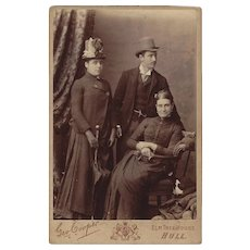Group of 3 Adults in Victorian Dress, Cabinet Photograph Card